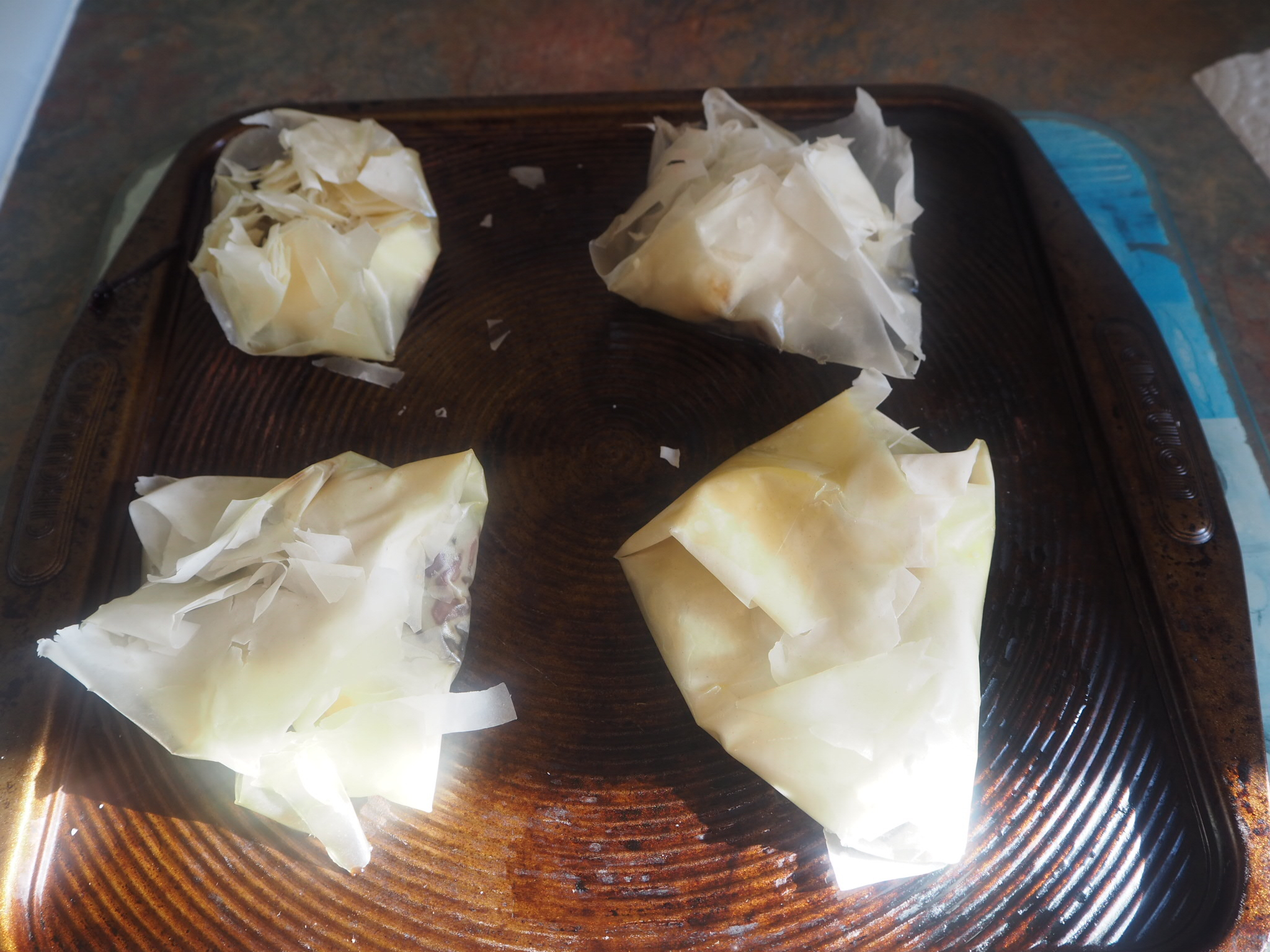 Goats Cheese and Red Onion Filo Parcels Recipe