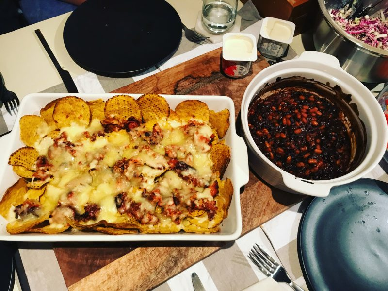 Pulled pork nachos and smoky baked beans